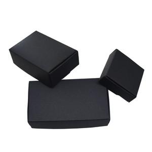 50 pçs / lote Vários Tamanhos Black Boutique Pacote de Caixa de Papel Kraft Dobrável Artesanato Caixas De Papel para Caixa de Presente De Armazenamento De Jóias de Casamento Decoração