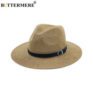 BUTT Strand Strohhut Brown Frauen Mens Wide Brim Elegante Panamahut Fedora Weibliche beiläufige moderne Sommer-Hüte