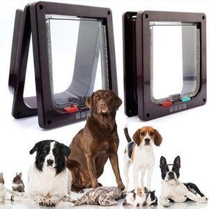 4 Yollu Kilitlenebilir Köpek Kedi Yavrusu Kapı Güvenlik Flap Kapı ABS Plastik S / M / L Hayvan Küçük Pet Kedi Köpek Kapısı Pet Malzemeleri