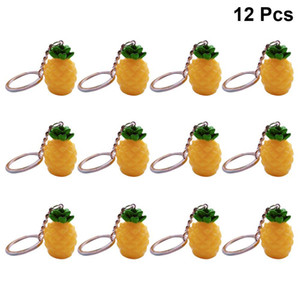 12pcs Bags Charm Pineapple Keychain Simulation Fashion Resin Ornament Purse Pendant Car Keyring for Decoration Key Rings Chain