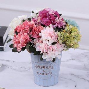 Wholesa fiori artificiali Hydrangea Bouquet 5 ramo di fiori di seta della parete del salone decorazioni di nozze a casa decorazione della casa camera da letto fiore