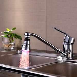 LED-Küche-Hahn-Stream Licht All-Richtung drehbar Wasserhahn Wasserhahn Temperaturregelung Red Light