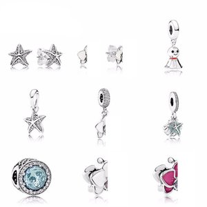 NEW 100% 925 Sterling Silver Starfish pandora Earrings Charms Stars bead Fits Bracelets DIY bracelet Factory jewelry Gift Wholesale