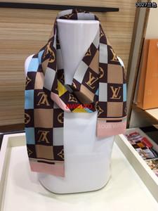 Französisch-Monogramm-Karo-Design 100% Seidenband Schal hochwertigen -beutelzusätze Sommer exquisiter edlen Frauen Mädchen Stirnband Schal