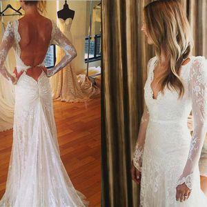 Vintage dentelle manches longues robes de mariée 2019 Robe de Novia dos ouvert sirène Robes de mariée à la main Livraison gratuite en ligne