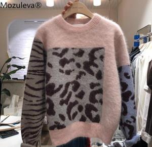 Rosa donne Mozuleva alta qualità Patchwork Leopard Knitting Pullover Casual Autunno Inverno spessore visone cachemire maglione allentato Tops