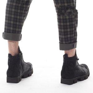 أحذية الشتاء القوطية الرجال منصة أحذية الثلج زبدة نباتية الحصان الفراء حقيقية الجلود أحذية الكاحل ذكر السامي الأعلى ربط الحذاء حتى سلامة العمل