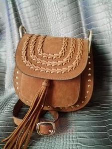 high quality~ w325 genuine leather cross body hud son bag TASSEL SUEDE ethnic Indian black orange tan 18*22*10cm