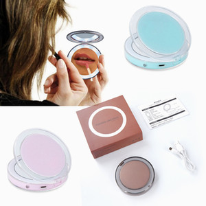 3 Color 3X Mini Portable LED Makeup Mirror Vanity Compact Women Pocket Mirrors Vanity Cosmetic Hand Mirror Magnifying Glasses