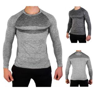 Sport Slim Mens magliette del O-collo a maniche lunghe Patchwork Designer uomo magliette casual solido di colore Homme Tees