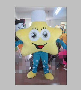 2020Yellow star Mascot Costumes Animated theme Pentagram Cospaly Cartoon mascot Character Halloween Carnival party Costume