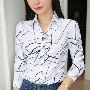 JFUNCY Plus Size Women Tops and Blouses 2020 Stripe Print Elegant Long Sleeve Office Lady Work Wear Shirts Female Slim Blusas