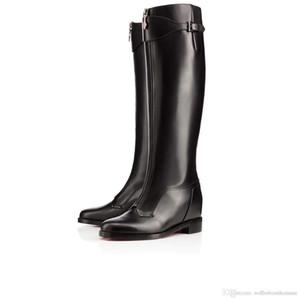 Lusso Progettato Boots Foresta Per WomenLadies Rosso Stivali inferiori Catene piattaforma del tallone pattini delle donne Smooth pelle di vitello Ginocchio-alto Stivali