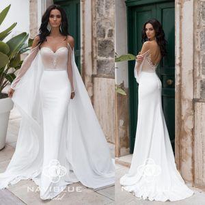 2020 robes de mariée sirène délicates avec cape sweetheart pure dos nu à manches longues robes de mariée plage pays robe de mariée
