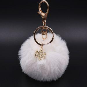 Fake Fur Pom Snowflake Pelzkugel Schlüsselanhänger für Frauen Startseite Keychain Auto-Schlüsselring-Beutel-Mappe-Charme-Anhänger Fashion Jewelry