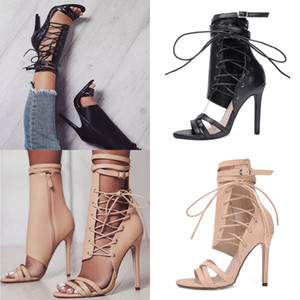 New Women Summer Ladies Lace up Peep Toe Stilettos High Heel Sandals Gladiator Sandals Party Prom