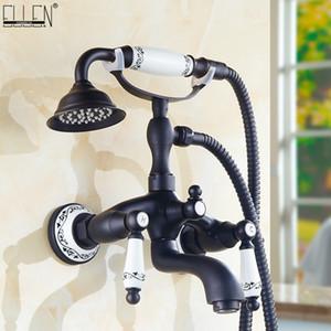Banheira Torneiras Preto de chuveiro de bronze Torneiras Handle dupla Wall Mounted Bath Shower Faucet Com Handheld Showers EG3401B