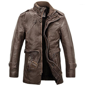 Wholesale- PU Leather Jacket Men Long Wool Stand Collar Coats Men's Leather Motocycle Jackets Overcoat Trench Parka jaqueta de couro1