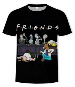 Parejas mayor Nueva-Moda Hombres Mujeres Rick y Morty divertido 3D ropa impresión unisex informal camisetas DX0145