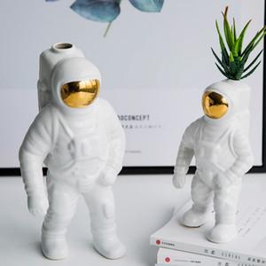 1 PCS céramique Spaceman décoration moderne Creative modèle Chambre Décoration bureau Astronaut Vase Décoration