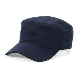 Fashion Mens femme armée chapeau chapeau de baseball cadet Cape plaine Cap plat haut plat chapeau de chapeau de visière chapeau noir / bleu marine / café