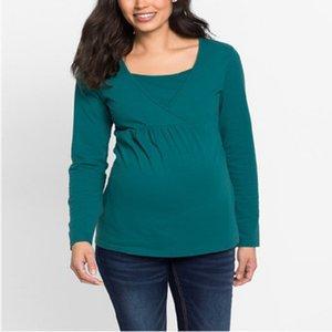 Top donna a maniche lunghe cuciture a maniche lunghe multifunzionali allattamento al seno vestiti per l'allattamento al seno mamma madre sciolto pigiama t-shirt 48