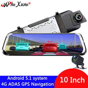 """WHEXUNE 4G 10"""" registrador IPS Android 5.1 cámara del coche DVR ADAS espejo Dash leva grabador de vídeo Full HD espejo retrovisor WiFi GPS"""
