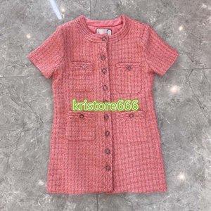 high end women girls tweed shirt dress plaid single breasted crew neck short sleeve a-line mini skirt 2020 fashion design pink dresses