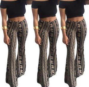 Bohemian Womens Summer Designer Flare Regular Full Length Fashion Loose Night Club Style Long Pants Female Casual Apparel