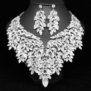 فاخر بيان كريستال كبيرة قلادة أقراط دبي مجموعات مجوهرات الزفاف الهندي حفل زفاف أزياء نسائية مجوهرات مقلدة T200302