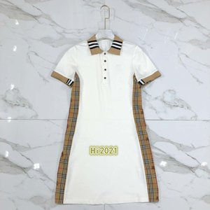 Kadınlara yönelik kız gündelik polo gömlek elbise nakış mektup ekose şerit ekleme 2020 moda lüks tasarım kontrast renk elbise etek