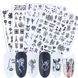 tickers & Decals Nail Stickers 3D Nail Art Adhesive Decals Black Face Flower Rose Letters Sliders Foils Decorations Manicure Tattoo TRCB1...