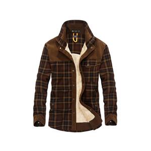 2018 Dropshipping Erkekler 100% Pamuk Astar Rahat Kış Jacke Erkekler Giyim Ekose Kalın Yün Astar Sonbahar Kış Polar Ceket