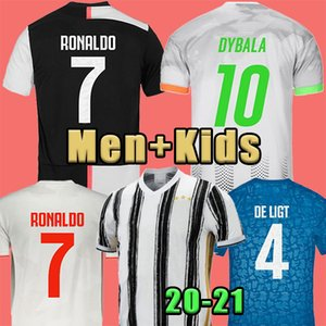 20 21 RONALDO JUVENTUS camiseta de fútbol 2020 JUVE 2021 casa lejos cuarta DE Ligt Dybala HIGUAIN cuarto PALACIO camisas del fútbol de los hombres para niños uniforma