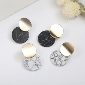 Moda europea y americana nuevos pendientes simples versátiles pendientes geométricos de mármol de imitación