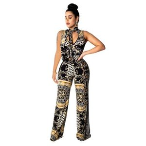 Женская Летняя Цифровая печатная Bodycon Wide Leg Pant Bodysuit Мода Sexy рукавов партии Комбинезоны Комбинезон легкий костюм с шортами Летняя одежда S-2XL