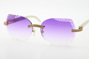 Atacado pedras grandes óculos Branco Genuine Natural chifre 3524012 Rimless Sunglasses Unisex High end designer de óculos gato olho esculpido Lens Nova