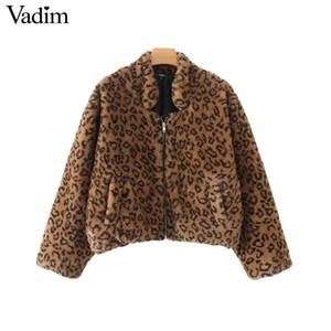Vadim Leopard Kunstpelz lose Bomberjacke Tiermuster Taschen lange Ärmel warme Mäntel weibliche lässig schicke Oberbekleidung CA294