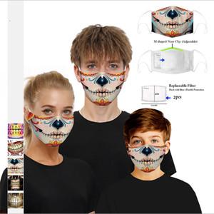 مصمم قناع الوجه مع مرشح القطن قابلة لإعادة الاستخدام قناع الوجه الجمجمة العلم الرقمية الرياضة تأثيري هالوين أقنعة الغبار الدافئة صامد للريح قناع