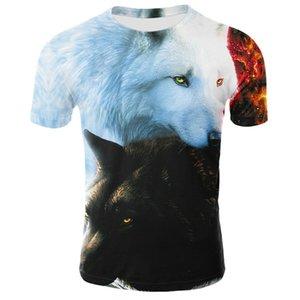 Mode d'été T-shirt des hommes Streetwear col rond manches courtes T-shirts Tops drôles Vêtements Animal mâle Loup Casual 3D Imprimer T-shirt