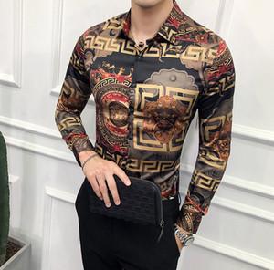 2020 camisas de vestir para hombre del diseñador del resorte de lujo mens ropa de verano azul y blanco porcelana de impresión de camisetas de manga larga camisa casual
