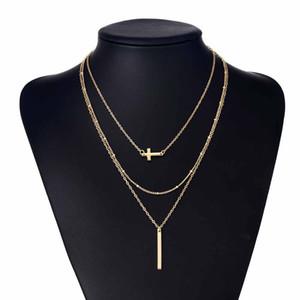 KISSWIFE медные бусы цепочка из сплава крест металлический стержень 3 слоя комплект подвеска ожерелья чешские украшения