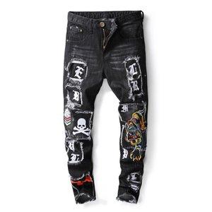 20ss Mens Distressed Strappato motociclista vero e proprio marchio di stampa Jeans Slim Fit Motociclista Denim per gli uomini di Hip Hop Designer Skull Badge Jeans