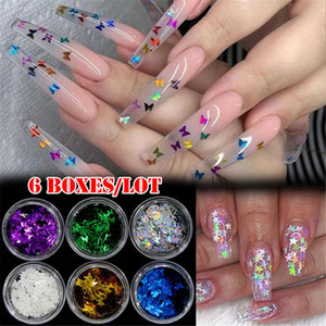 6Pcs / Set Zufalls Mixed Nail Glitter Holographic Pailletten Red Holo Thin Runde / Schmetterling / Stern Paillette Nail Art Flakes Sheets Tipps
