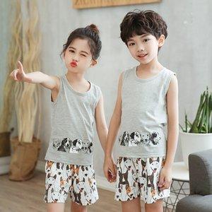 Summer Boys Girls Clothing Children Tracksuit 100% Cotton Kids Clothes 2pcs Vest Pant Clothes Sets For Babies Cartoon Outfits