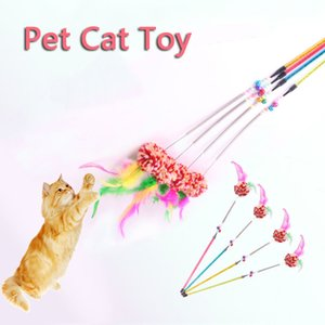 Cat Toy Cute Funny Cat Rod Colorful Teaser Wand Steel Wire Plastic Cats Interactive Stick Pet Toys Ball Cat Supplies Wholesale VT0464
