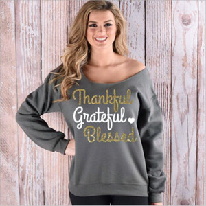 Thankful Brief Jacken Weihnachten Printed Hoodies Frauen beiläufige lose Mantel Langarm-Sweatshirt Mode Pullover Harajuku Tops Blusas B2296