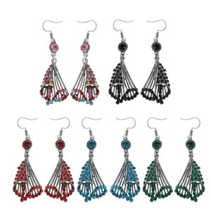 Ethnic Bollywood Spiral Jhumka Jhumki Brocade Crystals Drop Earrrings Mexico Gypsy Dangle Earrings Fashion Jewelry