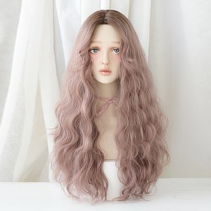 2020 France Style Natural European And American Wig Easy Take Care Fashion Brown Long Curly Women Chemical Fiber Lace Front Wig Hair Band