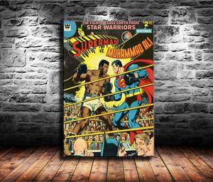 1 Peças Cópias Da Lona Arte Da Parede Pintura A Óleo Home Decor Superman Vs Muhammad Ali (Sem Moldura / Emoldurado) 24x36.